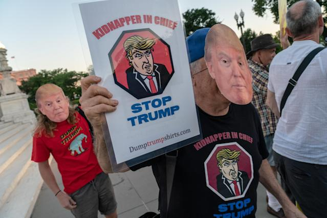<p>Protesters demonstrate in front of the U.S. Supreme Court prior to President Trump nominating federal judge Brett Kavanaugh to Supreme Court to succeed retiring Justice Anthony Kennedy, July 9, 2018. (Photo: Ken Cedeno via ZUMA Wire) </p>