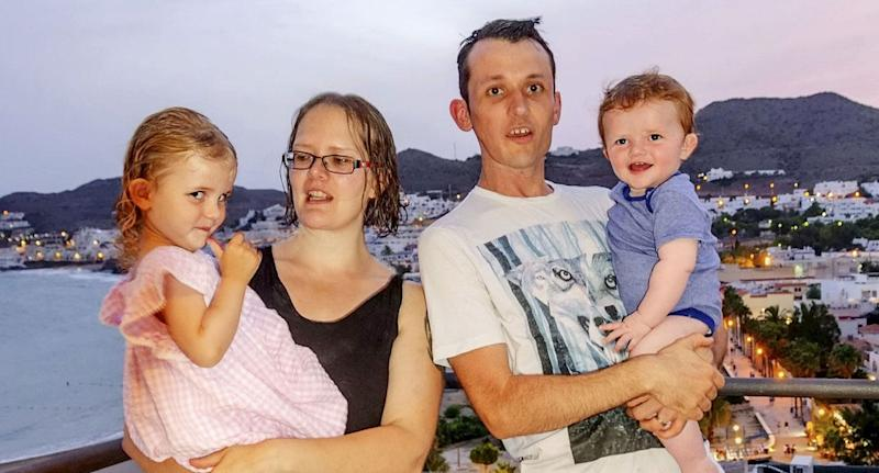 Dom Allan with his wife, Becky, and their two children (Picture: SWNS)
