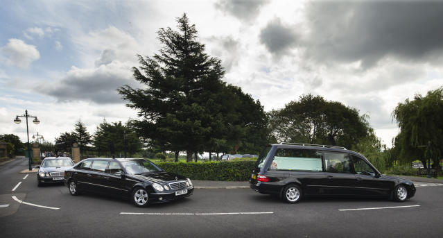 The funeral of the two children murdered by Sarah Barrass and her partner. (PA)