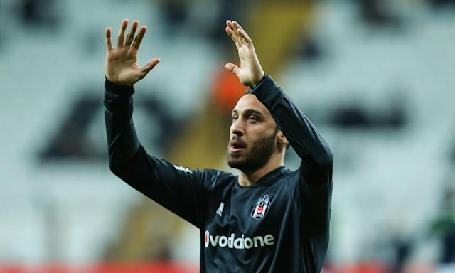 Cenk Tosun greets Besiktas fans after the Turkish Cup game against Osmanlispor on Thursday, expected to be his last for the club.