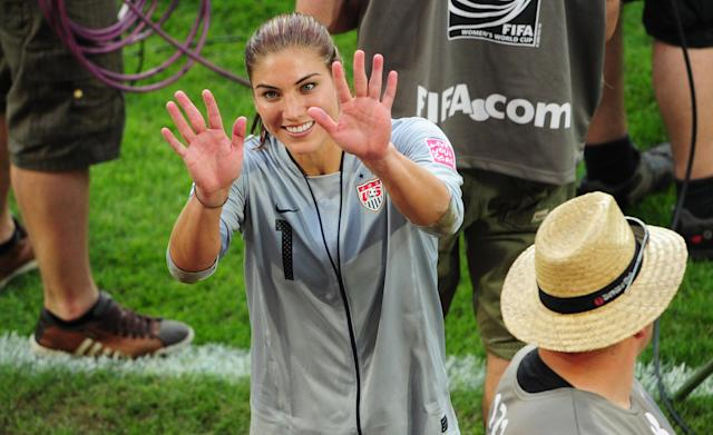 USA's goalkeeper Hope Solo gestures after the quarter-final match of the FIFA women's football World Cup Brazil vs USA on July 10, 2011 in Dresden, eastern Germany. The USA won the match after a penalty shoot-out. AFP PHOTO / JOHANNES EISELE (Photo credit should read JOHANNES EISELE/AFP/Getty Images)