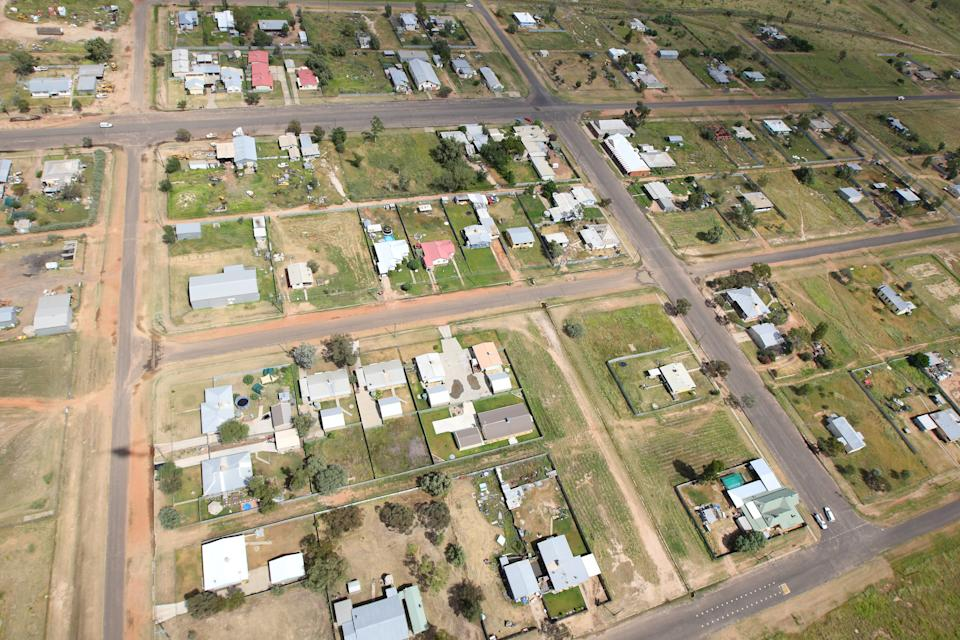 Aerial view of the town of Goodooga on January 6, 2011 in Goodooga, New South Wales, Australia.