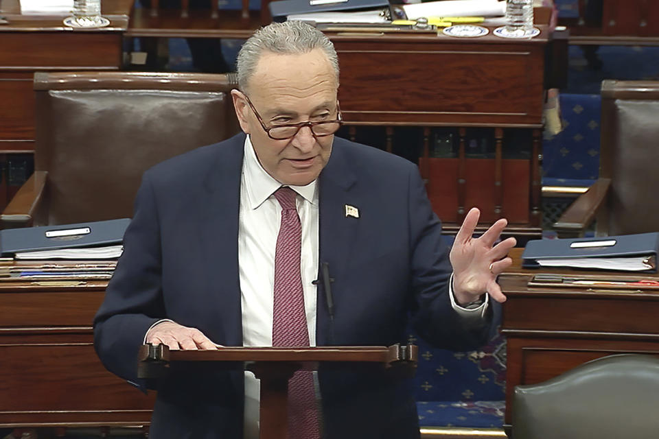 In this image from video, Senate Majority Leader Chuck Schumer of N.Y., calls for a recess after a vote on the motion to allow witnesses in the second impeachment trial of former President Donald Trump in the Senate at the U.S. Capitol in Washington, Saturday, Feb. 13, 2021. (Senate Television via AP)