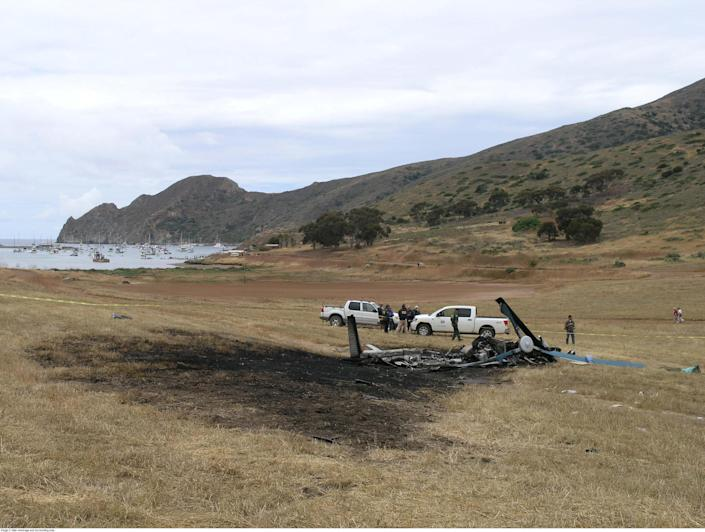 A photo provided by the National Transportation Safety Board shows the site where a helicopter operated by Island Express Helicopters crashed on approach to Catalina Island, near Los Angeles, in 2008, killing three people. (National Transportation Safety Board via The New York Times)