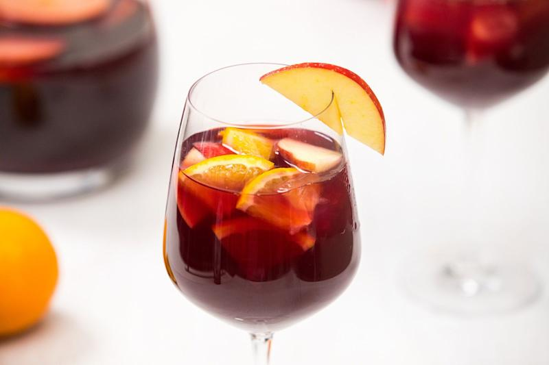 Spiced sangria is a classic option for a New Year's Eve drink.
