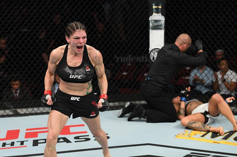 NEWARK, NJ - AUGUST 03: (L-R) Lauren Murphy celebrates her TKO victory over Mara Romero Borella of Italy in their women's flyweight bout during the UFC Fight Night event at the Prudential Center on August 3, 2019 in Newark, New Jersey. (Photo by Josh Hedges/Zuffa LLC/Zuffa LLC via Getty Images)
