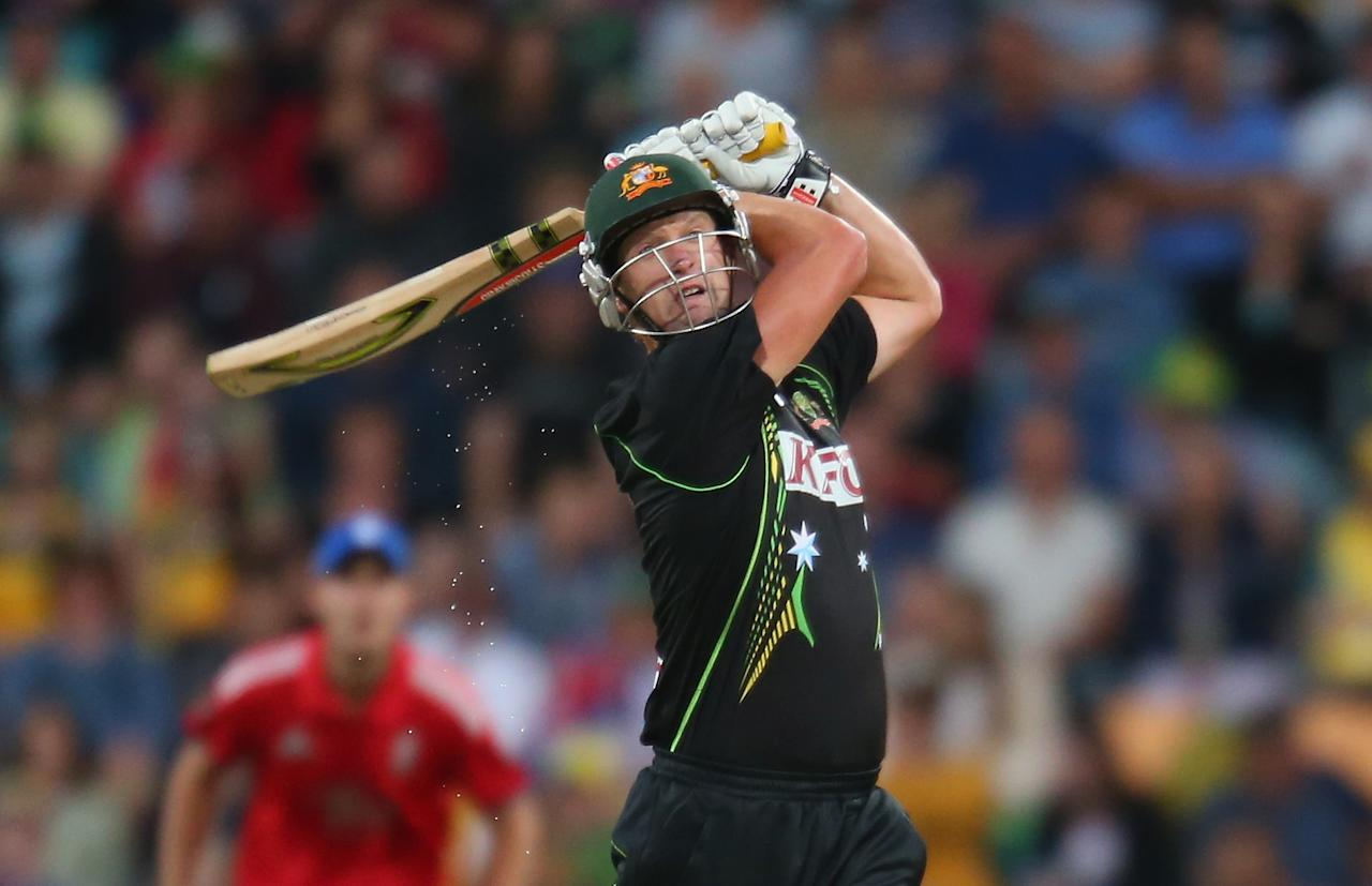 HOBART, AUSTRALIA - JANUARY 29:  Cameron White of Australia bats during game one of the International Twenty20 series between Australia and England at Blundstone Arena on January 29, 2014 in Hobart, Australia.  (Photo by Scott Barbour/Getty Images)