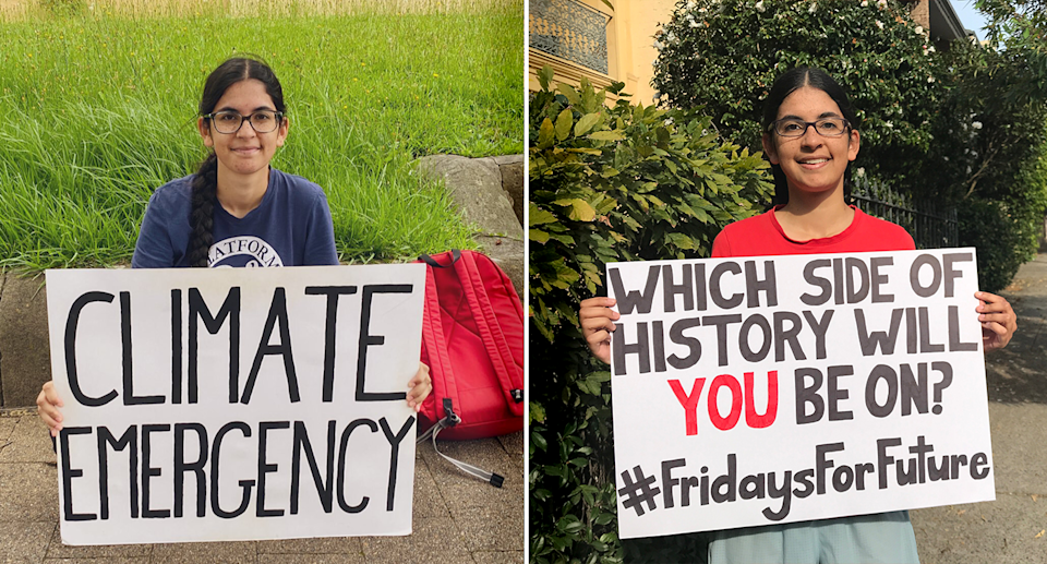 Patsy Islam-Parsons shown protesting in two images.