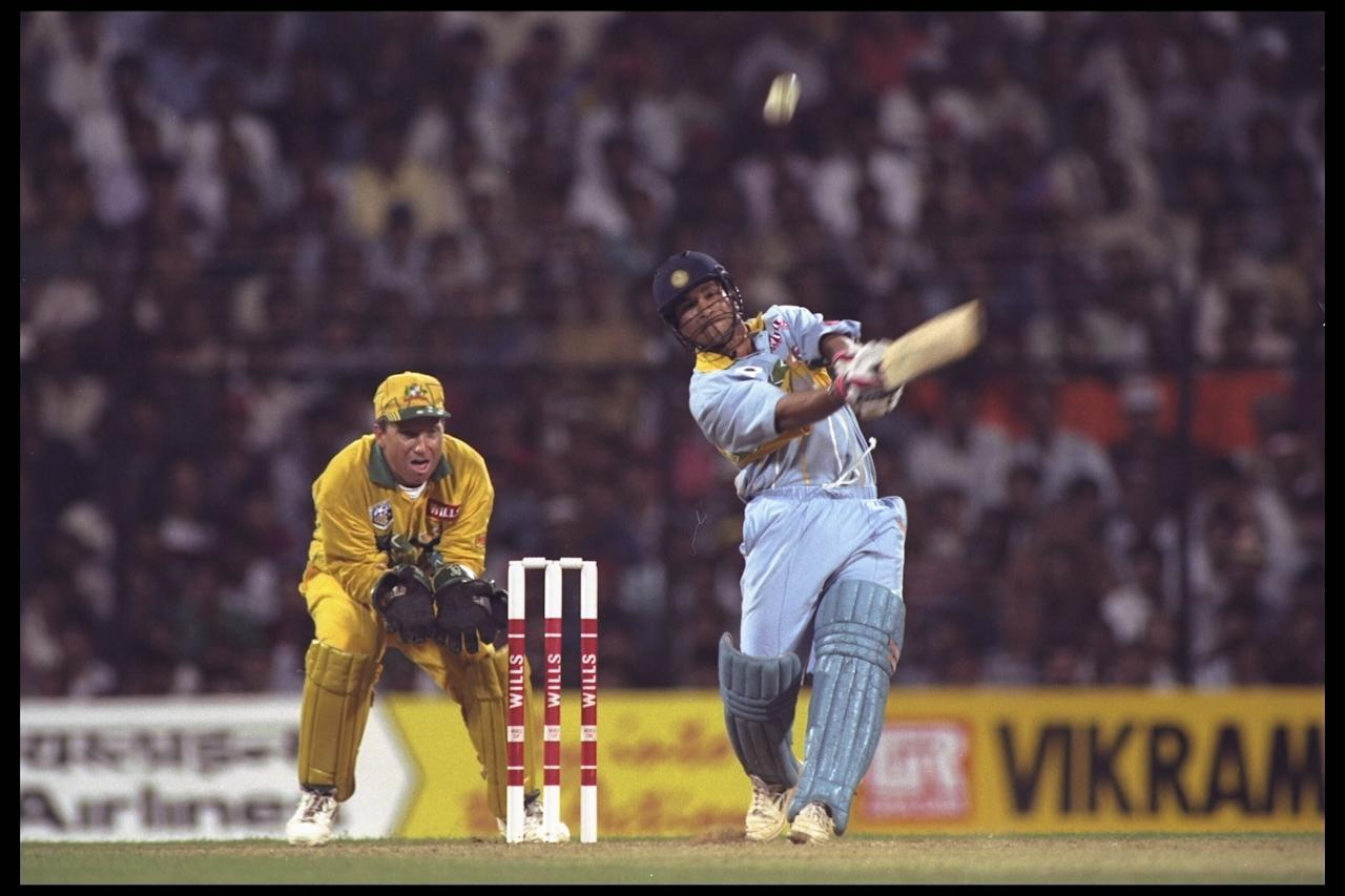 27 Feb 1996:  Sachin Tendulkar of India on his way to an innings of 92 in the game against Australia during the cricket world cup match in Bombay, India