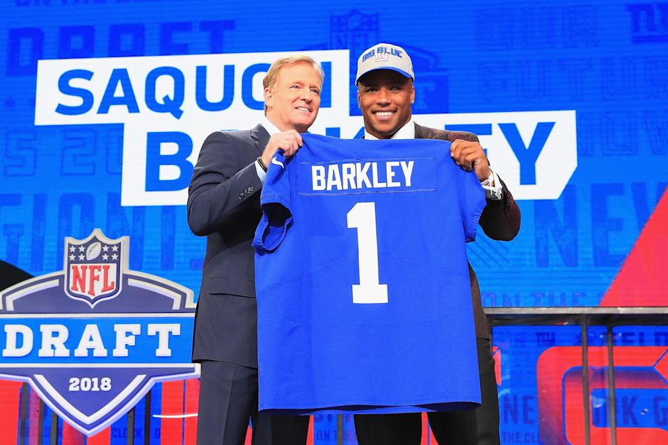 Saquon Barkley's Giants jersey is in high demand during and after the 2018 NFL draft. (Getty Images)