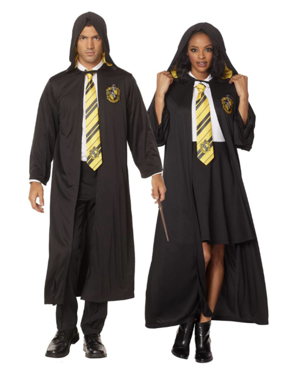 man and woman wearing black Harry Potter Hufflepuff Robe and yellow tie
