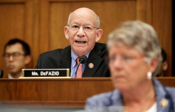 PHOTO: House Transportation and Infrastructure Committee Chairman Peter DeFazio (D-OR) delivers opening remarks during a hearing about the Boeing 737 MAX airplane on Capitol Hill, May 15, 2019. (Chip Somodevilla/Getty Images, FILE)