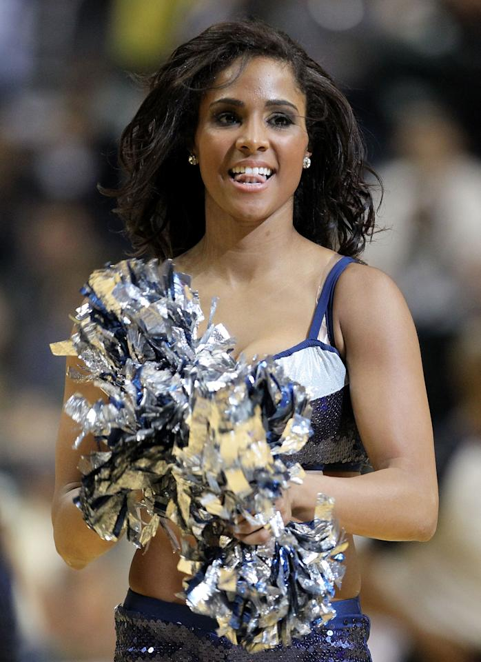 INDIANAPOLIS, IN - APRIL 06:  A Indiana Pacers cheerleader performs during the NBA game against the Oklahoma City Thunder at Bankers Life Fieldhouse on April 6, 2012 in Indianapolis, Indiana.  NOTE TO USER: User expressly acknowledges and agrees that, by downloading and or using this photograph, User is consenting to the terms and conditions of the Getty Images License Agreement.  (Photo by Andy Lyons/Getty Images)
