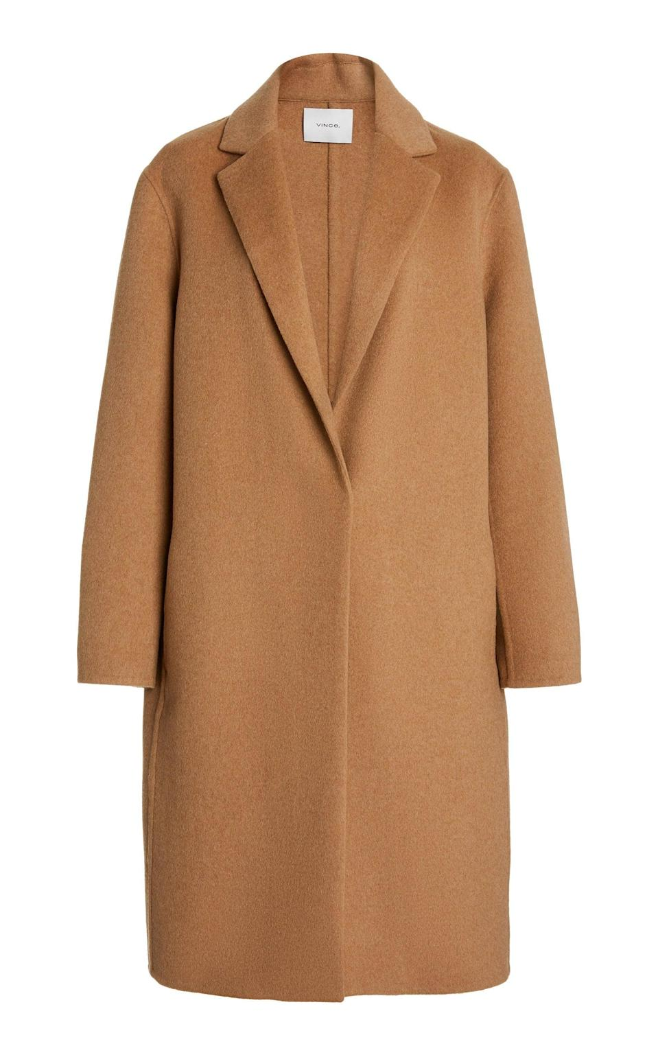 <p>You can't go wrong with this <span>Vince Classic Wool-Blend Coat</span> ($695).</p>