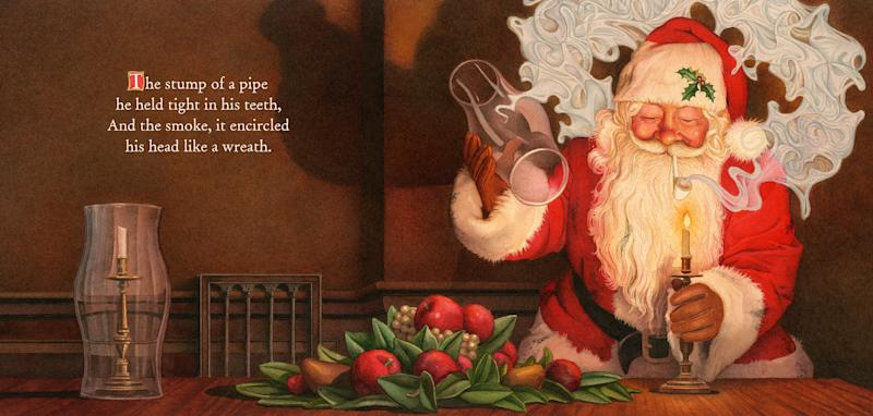 """This illustration released by Applesauce Press shows an image of Santa Claus smoking a pipe from the book, """"The Night Before Christmas,"""" illustrated by Charles Santore. A new book version of """"Twas the Night Before Christmas"""" has been released that eliminates all references to a smoking Santa. Santore's version keeps the traditional lines from the 189-year-old holiday poem by Clement C. Moore. (AP Photo/Applesauce Press)"""