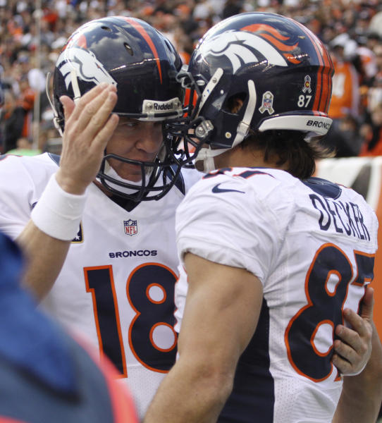Denver Broncos quarterback Peyton Manning (18) congratulates wide receiver Eric Decker (87) after they combined on a four-yard touchdown pass against the Cincinnati Bengals in the second half of an NFL football game, Sunday, Nov. 4, 2012, in Cincinnati. Denver won 31-23. (AP Photo/Tom Uhlman)