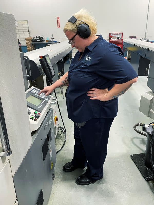 A worker operates one of the metal cutting machines at Gent Machine Co.'s factory in Cleveland