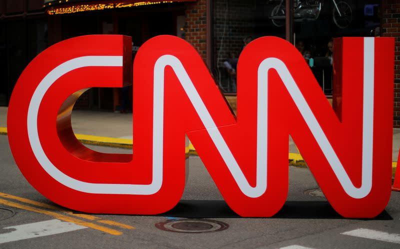 FILE PHOTO: The CNN logo stands outside the venue of the second Democratic 2020 U.S. presidential candidates debate, in the Fox Theater in Detroit