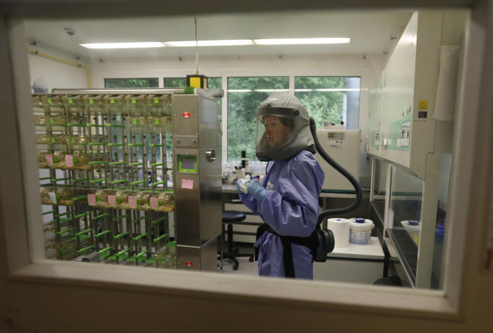 Dr. Doreen Muth of Germany's Bonn Faculty of Medicine working in a biosafety lab in 2013. (Wolfgang Rattay/Reuters)