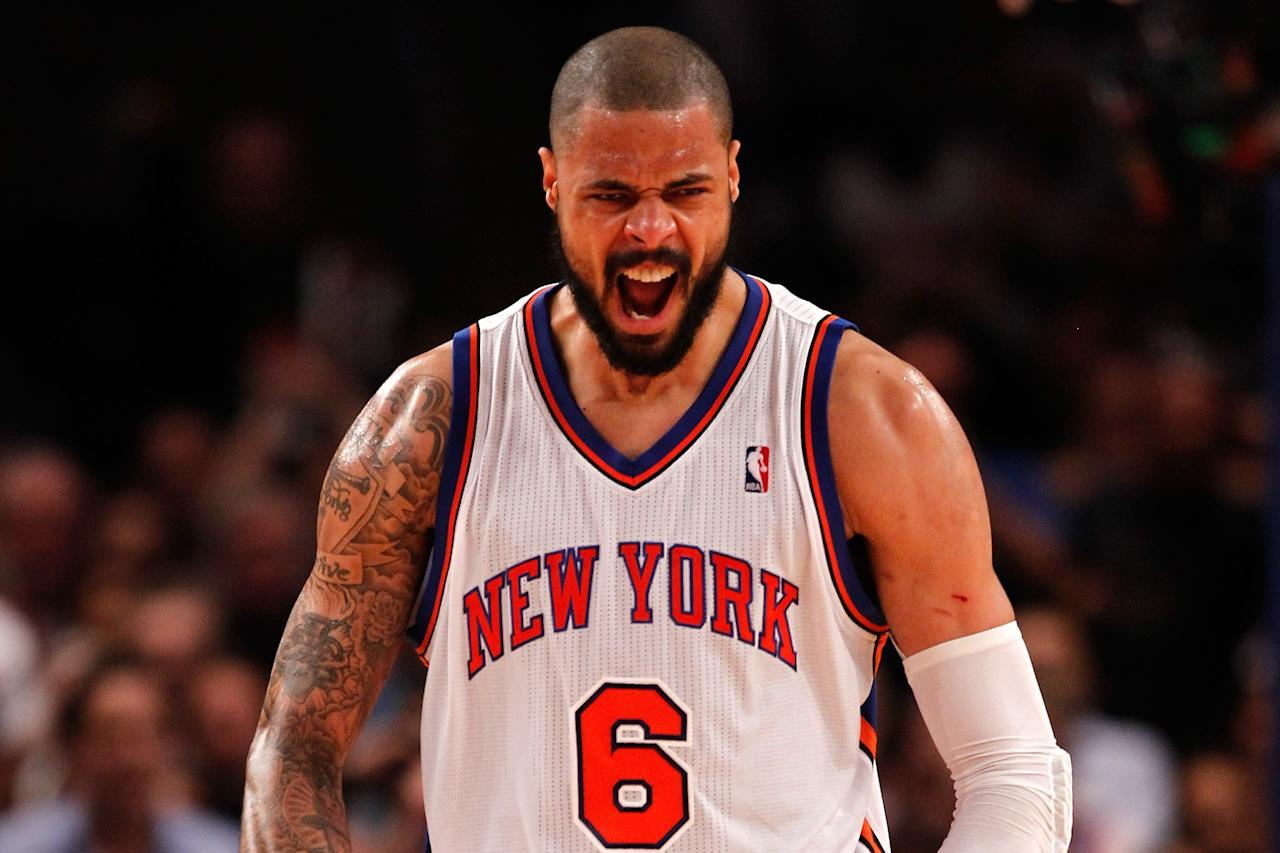 NEW YORK, NY - MAY 03:  Tyson Chandler #6 of the New York Knicks reacts in the first half against the Miami Heat in Game Three of the Eastern Conference Quarterfinals in the 2012 NBA Playoffs on May 3, 2012 at Madison Square Garden in New York City.  NOTE TO USER: User expressly acknowledges and agrees that, by downloading and or using this photograph, User is consenting to the terms and conditions of the Getty Images License Agreement.  (Photo by Jeff Zelevansky/Getty Images)