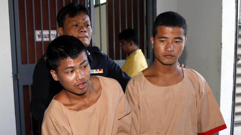 Two Myanmar migrants have been sentenced to death for the murder of two backpackers in Thailand.