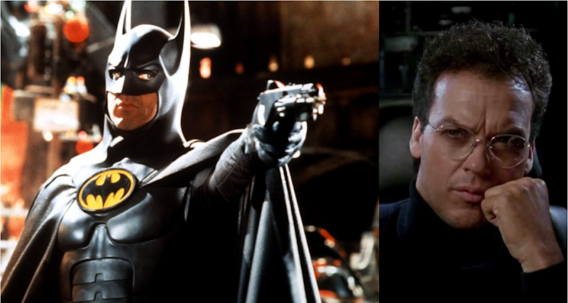 Michael Keaton as Batman and without his mask as Bruce Wayne. (Credit: Warner Bros)