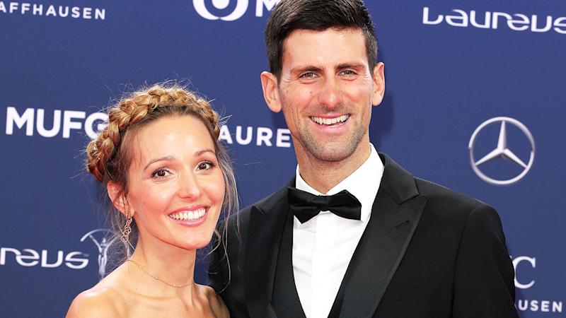 Novak Djokovic and wife Jelena, pictured here at the Laureus Sport Awards in 2019.