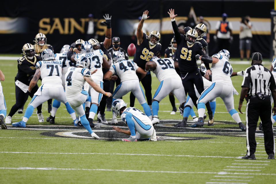 Panthers kicker Joey Slye (4) missed what would have been an NFL-record 65-yard field goal to tie the game, which the Saints ultimately won. (AP Photo/Brett Duke)