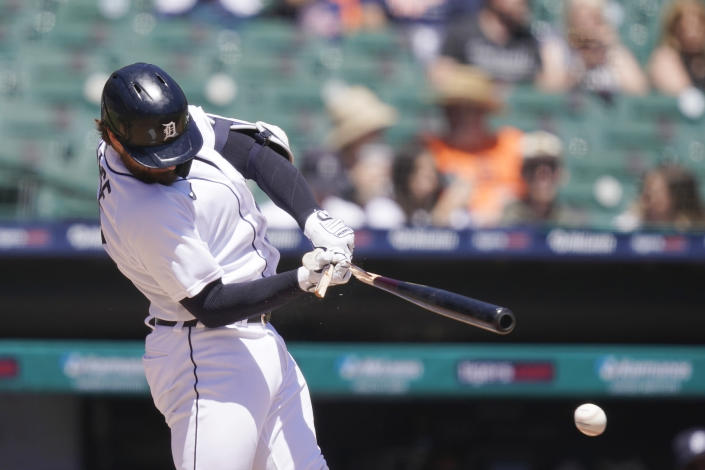Detroit Tigers' Eric Haase breaks his bat as he grounds into a fielder's choice during the third inning of a baseball game against the New York Yankees, Sunday, May 30, 2021, in Detroit. (AP Photo/Carlos Osorio)