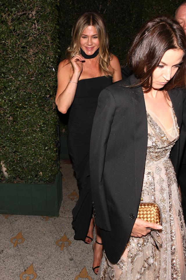 <p>Aniston was all smiles as she left the party. Both Aniston and Theroux have been laying low since announcing their separation, but if this outfit is any indication – Aniston is better than ever. </p>