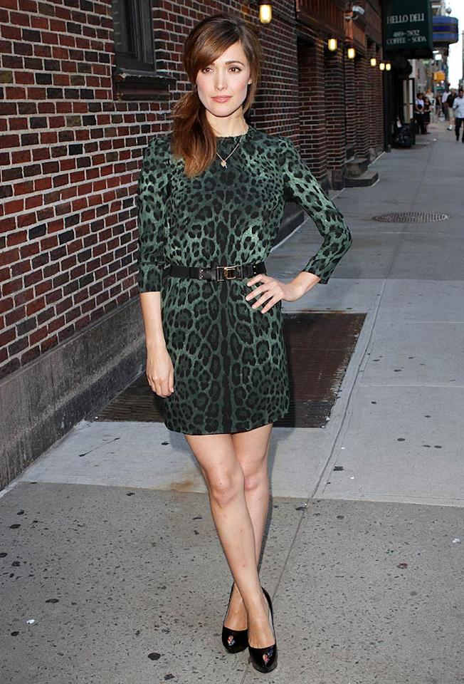 "Some stars always look lovely in Dolce & Gabbana, and Rose Byrne is definitely one of those people. The ""Damages"" darling perfectly paired her green leopard print dress with Sergio Rossi pumps and a simple gold necklace for an appearance on ""Late Show With David Letterman."" Richie Buxo/<a href=""http://www.splashnewsonline.com"" target=""new"">Splash News</a> - August 23, 2011"