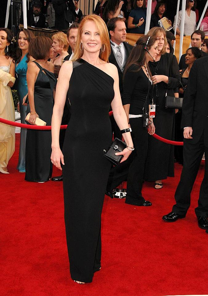 """It's criminal to look as good as """"CSI's"""" Marg Helgenberger. The 49-year-old actress looks fabulously fit in her black goddess gown. Steve Granitz/<a href=""""http://www.wireimage.com"""" target=""""new"""">WireImage.com</a> - January 27, 2008"""