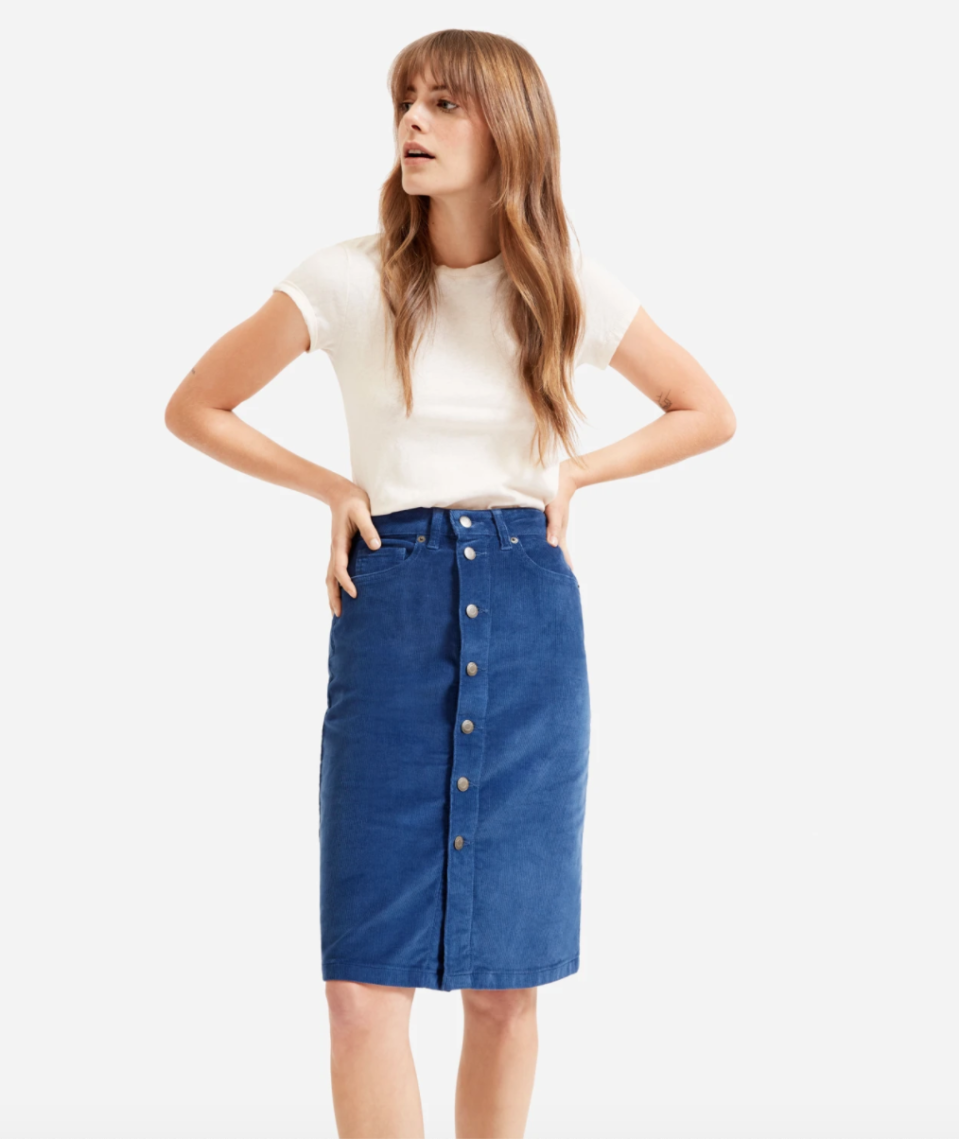 The Button-Front Corduroy Skirt.