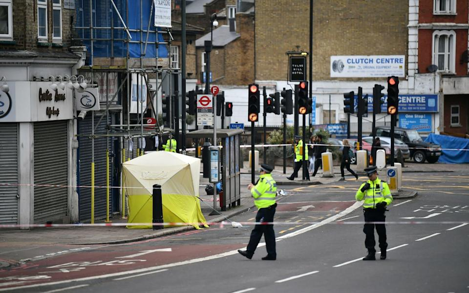 The scene where a schoolboy was stabbed to death in Tulse Hill, South London - London News Pictures Ltd