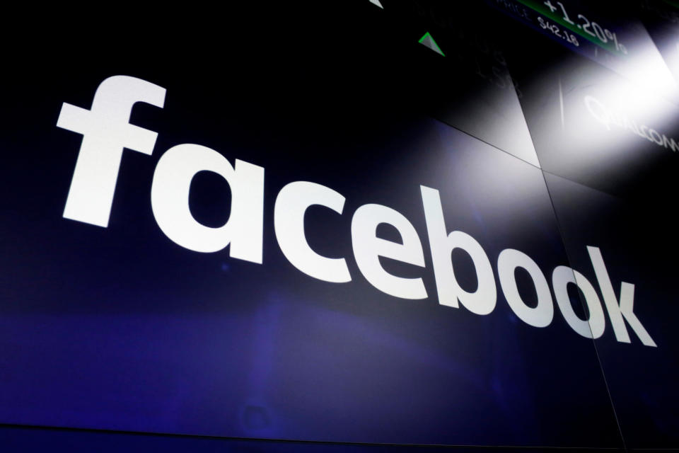 FILE - This March 29, 2018, file photo shows the Facebook logo on screens at the Nasdaq MarketSite, in New York's Times Square. Former President Donald Trump will find out this week whether he gets to return to Facebook. The social network's quasi-independent Oversight Board says it will announce its decision Wednesday, May 5 on a case concerning the former president. Trump's account was suspended for inciting violence that led to the deadly Jan. 6 Capitol riots. (AP Photo/Richard Drew, File)