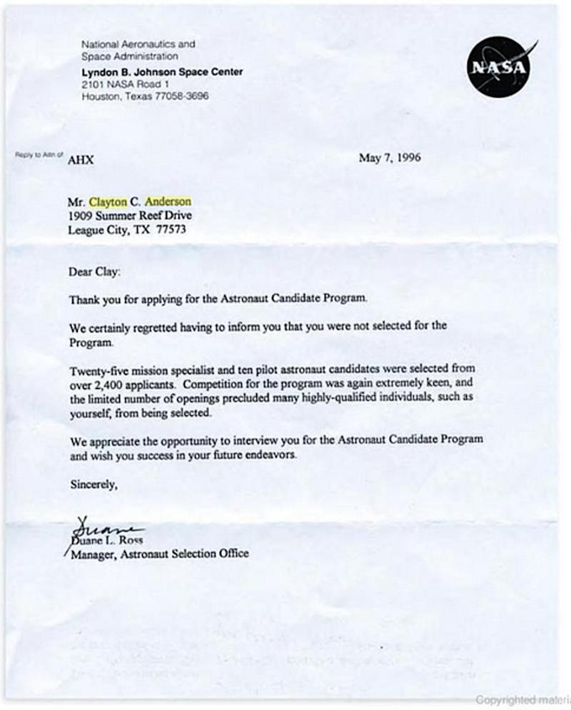 Clay Anderson rejection letter