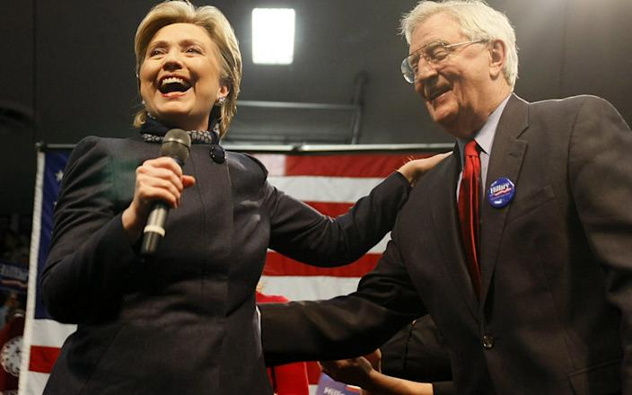 Hillary Clinton with former US vice president Walter Mondale during a campaign stop in 2008 - AFP