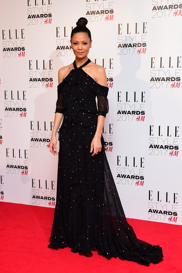 <p>Thandie chose a shimmering nighttime gown by Erdem. <i>[Photo: PA]</i> </p>