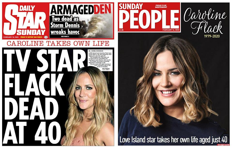 The Daily Star Sunday and Sunday People also led with the presenter's death