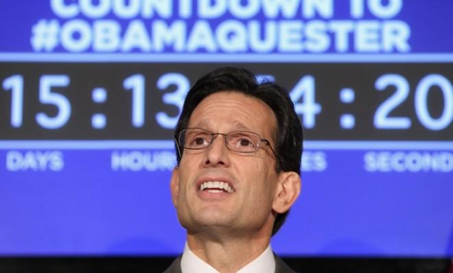 House Majority Leader Eric Cantor (R-Va.) speaks on the pending fiscal sequestration on Feb. 13.