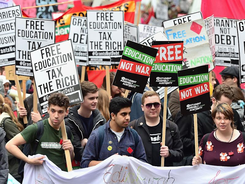Students call for the abolition of tuition fees and an end to student debt at a protest in Westminster: PA