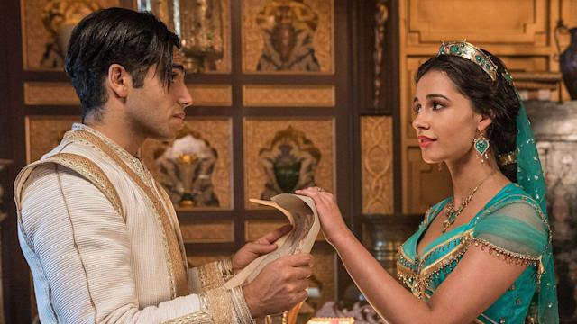 Mena Massoud is Aladdin and Naomi Scott is Jasmine in Disney's live-action ALADDIN, directed by Guy Ritchie. (Daniel Smith/© 2019 Disney Enterprises, Inc. All Rights Reserved)