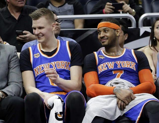 The Knicks have to repair relationships with Kristaps Porzingis and Carmelo Anthony. (AP)