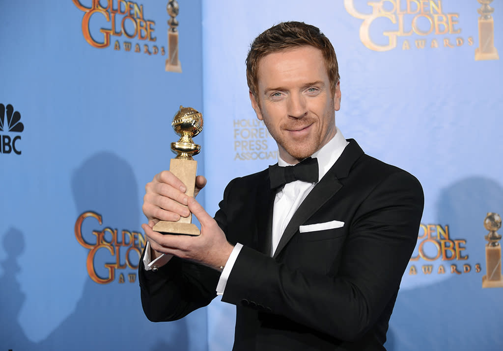 "Damian Lewis, winner of Best Actor in a Television Series, Drama for ""Homeland"", poses in the press room at the 70th Annual Golden Globe Awards held at the Beverly Hilton Hotel on January 13, 2013.  (Photo by Kevork Djansezian/NBC/NBC via Getty Images)"
