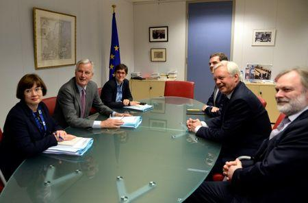 EU's chief Brexit negotiator Barnier and Britain's Secretary of State for Exiting the European Union Davis attend a meeting in Brussels