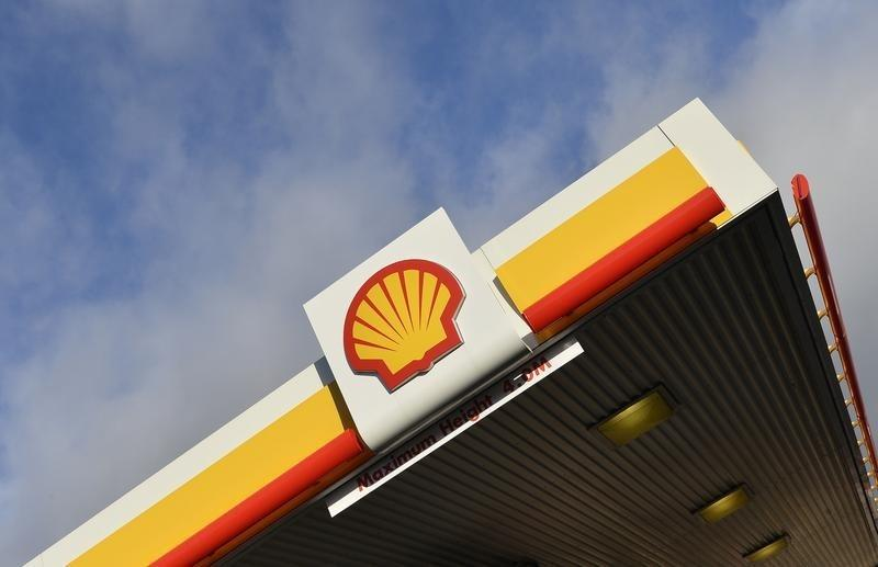 Shell branding is seen at a petrol station in west London