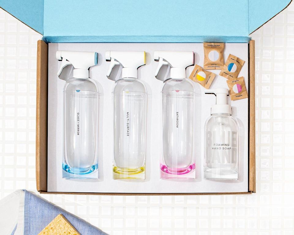 """<a href=""""https://fave.co/2Kiz64t"""" target=""""_blank"""" rel=""""noopener noreferrer"""">Blueland</a> offers cleaning kits, likethis one called """"<a href=""""https://fave.co/2UUZ5UK"""" target=""""_blank"""" rel=""""noopener noreferrer"""">The Clean Essentials</a>,"""" that are eco-friendly and come with reusable bottles. You can pick to haverecurring refills— ranging from hand and dish soap to multisurface cleaners. With a subscription, you can choose to get refills every month to every four months.<br /><br />Check out <a href=""""https://fave.co/2Kiz64t"""" target=""""_blank"""" rel=""""noopener noreferrer"""">Blueland's monthly subscription plans</a>."""