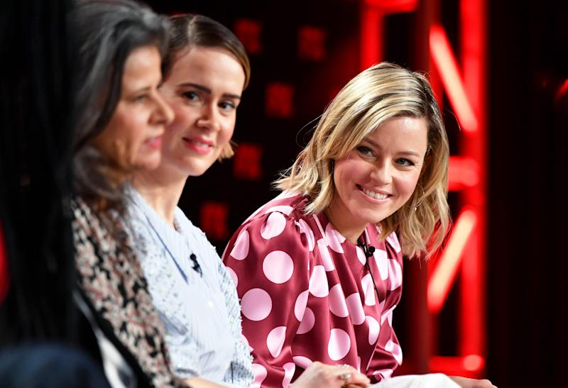 """Tracey Ullman, Sarah Paulson, and Elizabeth Banks of """"Mrs. America"""" talk about the new FX on Hulu show at the Television Critics Association on Jan. 9, 2020."""
