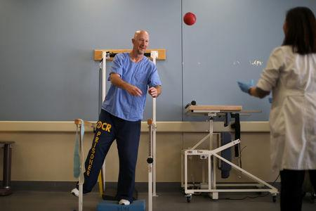 An inmate does physical therapy at the California Health Care Facility in Stockton, California, U.S., May 24, 2018. REUTERS/Lucy Nicholson  RIES.