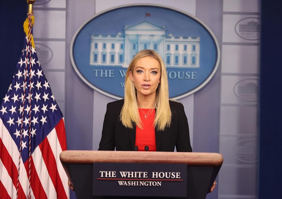 File: White House Press Secretary Kayleigh McEnany speaks in the James Brady Press Briefing Room on 7 January 2021 in Washington, DC, a day after armed protesters breached the US Capitol to disrupt the vote to certify Joe Biden as the next President of the country (Getty Images)